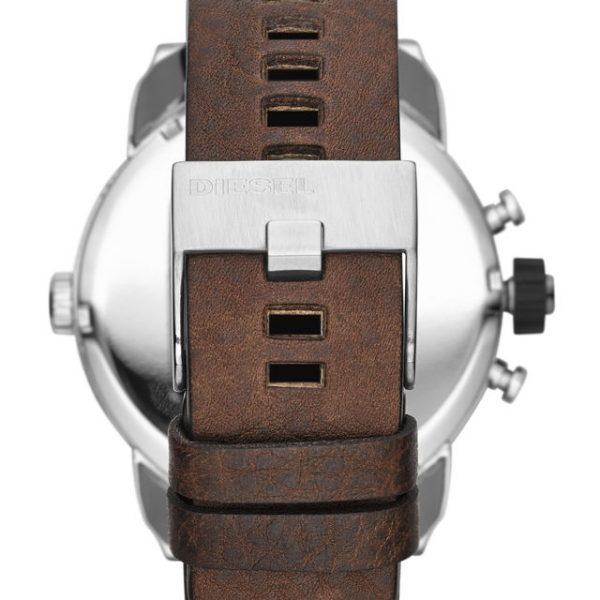 Diesel Little Daddy Grey Dial Brown Leather Mens Watch DZ7335 2