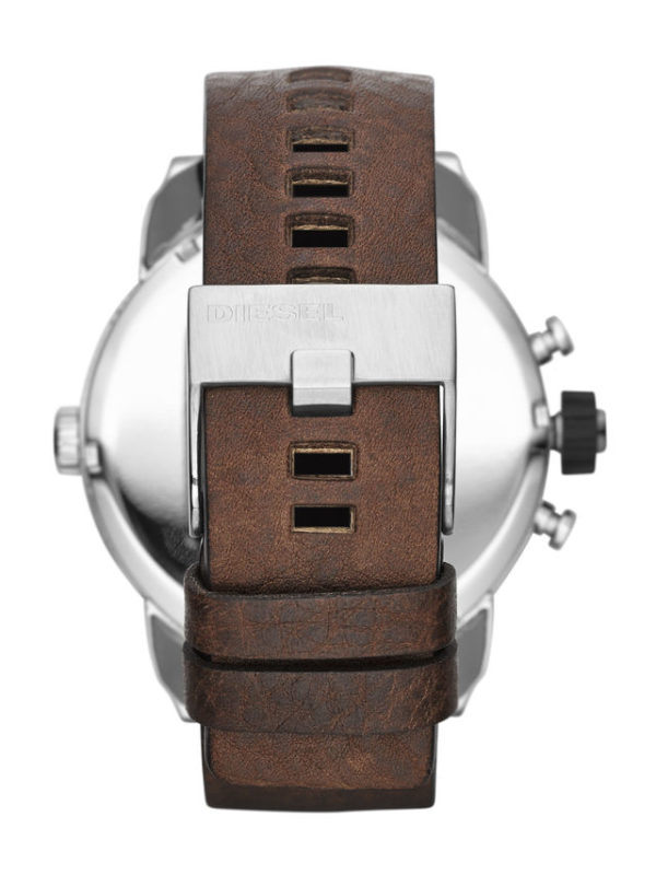Diesel Little Daddy Grey Dial Brown Leather Mens Watch DZ7335 2