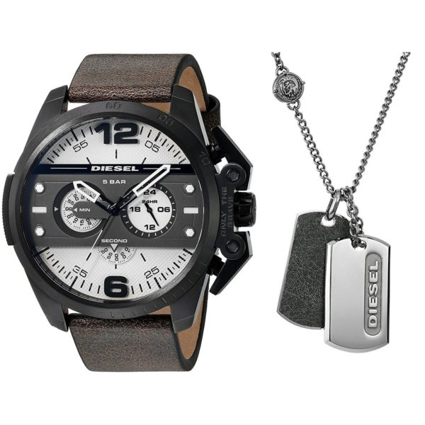 Diesel Mens DZ4416 Ironside Chronograph Necklace Gift Set Black Leather Watc