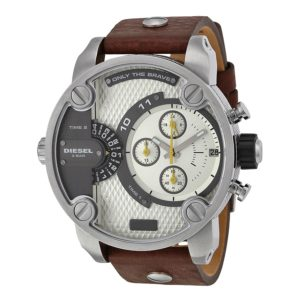 Diesel Little Daddy Grey Dial Brown Leather Mens Watch Dz7335