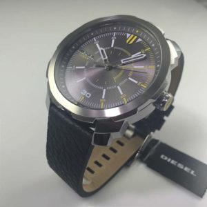 Men S Diesel Machinus Black Leather Strap Watch Dz1739 4