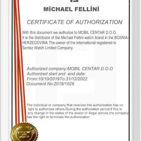 MICHAEL FELLINI certifikat